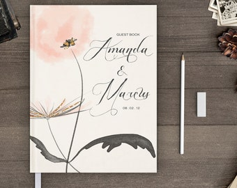 Floral wedding guest book, Unique guestbook sign in, Watercolor flower, gb0065