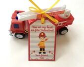 Kids Valentine, Valentine's Day Card, Preschool Valentine, School Valentine,  Fireman Valentine, Fire Truck Valentine, Valentine Favor