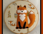 """12"""" Wooden Embroidery Hoop Art 3D Felt Fox Wall Decoration Woodland Fabric with Sparkle Crystals"""