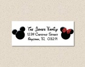 Mickey Minnie Inspired Return Address Labels - Coordinate to your Christmas Card -  You Print