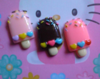 kawaii ice cream bar cabochons decoden deco diy charm  3 pcs---USA seller