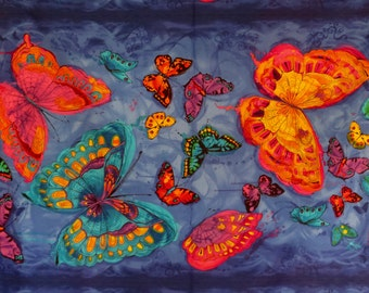 Stunning Monterey Orange and Blue Butterfly Panel Print Pure Cotton Fabric--By the Panel