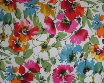Sage Green Pink and Blue Floral Print Stretch Cotton Sateen Fabric--One Yard