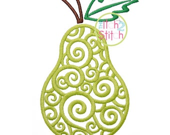 Scroll Pear Embroidery Design,  Sizes 4x4, 5x7, and 6x10  INSTANT DOWNLOAD now available