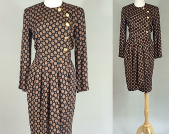 80s Wrap Dress / Vintage 1980s Dress / 1980s Vintage Dress / 1980s Albert Nipon Dress / 80s Dress / 1980s Dress / Vintage Dress / Dress