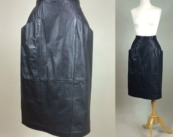 Black Leather Skirt / Vintage Genuine Leather Skirt / 80s Vintage Black Leather Skirt / Vintage 1980s Leather Skirt / 1980s Black leather