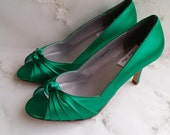 Emerald Green Wedding Shoes Emerald Green Bridal Shoes Emerald Green Bridesmaid Shoes  PICK FROM 100 COLORS Bridesmaid Shoes