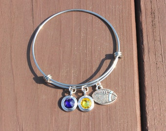 Bangle - Tailgating - Football - Team Colors - Swarovski crystals - Adjustable bangle - Gifts for her