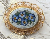 Vintage Micro Mosaic Brooch, Forget me Not, Blue Mosaic Pin, Estate Jewelry, Italian Mosaic Floral