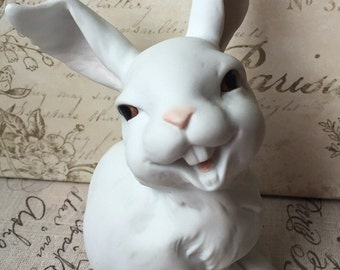 vintage Kaiser West Germany Laughing Hare Collectible Figurine by Wolfgang Gawantka, Smiling Ceramic Bunny, Estate sale, white bisque rabbit