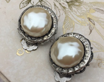 Signed Mariam Haskell Baroque Pearl Clip On Earrings, Vintage Haskell Pearl Estate Jewelry