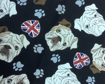 "English Bulldog - 3 colors -1 yard - cotton linen,dog fabric, Check out with code ""5YEAR"" to save 20% off"