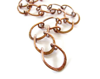 Hammered Copper Horseshoe Chain Link Bracelet, Rustic Nature Inspired Jewelry