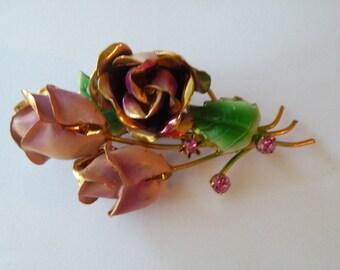 Dusty rose enamel rhinestone brooch pin