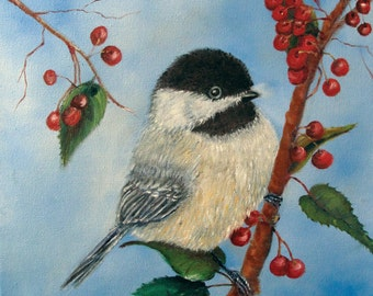 Black Capped Chickadee With Winterberries Painting