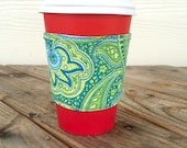 Paisley Coffee Cozy Reversible Smoothie To Go Cup Green Botanical Christmas Gift Stocking Stuffer