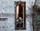 Mirror Reclaimed Vintage Indian Door Panel Wall Hanging Art Distressed Jodhpur Blue and Umber Color Mirror Moroccan Decor Turkish