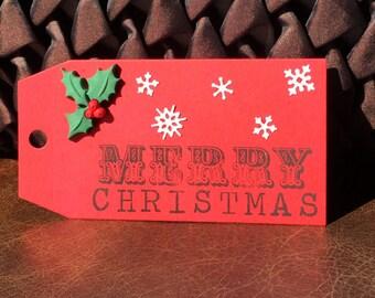 Handmade Large Christmas Vintage Look Gift Tag