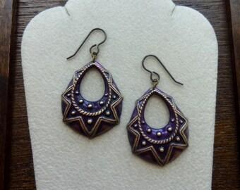 DRUPE-Purple Plum Embossed Brass Teardrop Hoop Earrings