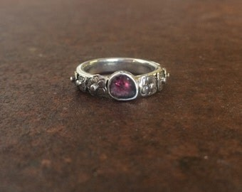 Watermelon Tourmaline Slice and Sterling Silver Flower Ring - Size 6 3/4 - Tourmaline Slice Ring