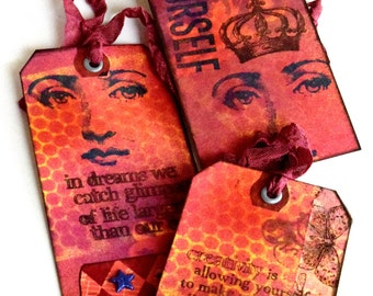 Altered Tags, Orange Face Tags, Quote Tags, Ooak Tags, Beautiful Woman Tag, Mixed Media Tags