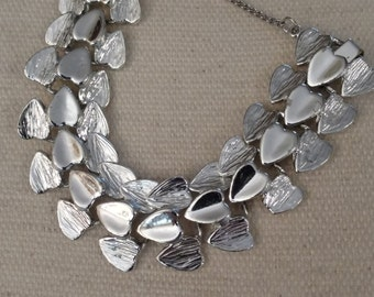 Silver Heart Bracelet, Textured and Shiny Finish, Silver Tone