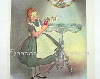 Vintage Alice in Wonderland Illustration, Alice and Drink Me Potion, Margorie Torrey, 1960's, Dandelion Library