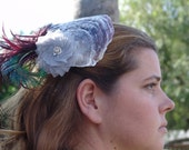 Fantastic Mermaid & Fairy Inspired Hair Fascinator/ Silk Cockade, Peacock Ostrich Feathers, Fall Colors, Silver Tones, Party Events Weddings