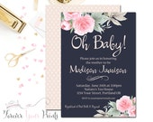 Girl Baby Shower Invitations, Floral Baby Shower Invite,  Sip and See Invitation, Brunch Baby Shower, Oh Baby, Navy Baby, Printed