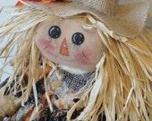 Primitive Scarecrow girl with pumpkin harvest dress by MorningMistDesigns