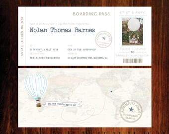 Travel Boarding pass Birthday Invitations, hot air balloon invitation, - set of 15