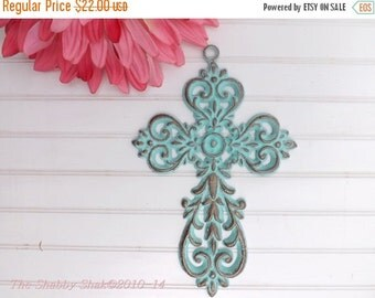 Decorative Wall Cross / Patina / Ornate Metal Cross / Iron Wall Cross