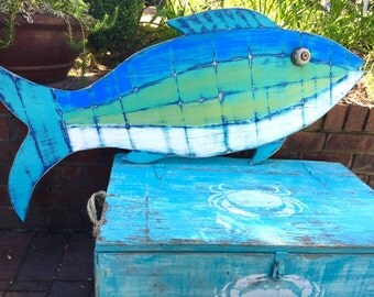 Fish Wall Sign Art Turquoise Beach House Weathered in Sea Glass Colours by CastawaysHall - Ready to Ship