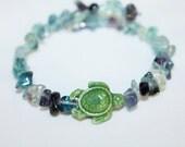 Fluorite memory wire bracelet with turtle bead, hippie, music festivals, ceramic, bohemian, gypsy, meditation