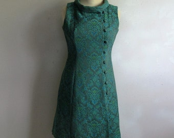 Vintage 1960s Brocade Tunic Green Blue Floral 60s Vintage Handmade Long Top Small