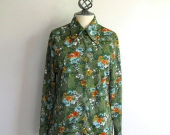 Clearance Vintage 1970s Blouse Green Blue Floral Top 70s Jersey Blouse Large