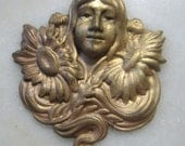 Vintage Art Nouveau Girl with Sun Flowers;  Detailed Raw Stamped  Brass, Jewelry Finding, Decoration, Trim, 45mm x 38mm, 1 Pc.
