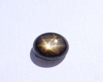 Black Star Sapphire. Natural. 6 Ray Sharp Silver Star, Great Polish Natural. Unheated Untreated Oval. 1 pc. 5.05 cts. 8x10 mm (S1509)