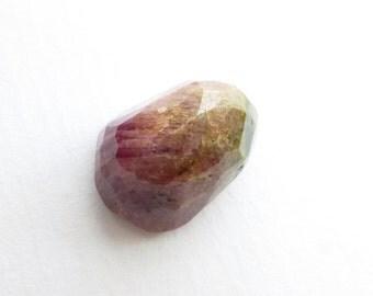 Bicolor Natural Tourmaline Faceted Cabochon. Freeform Micro Facet Cut. 1 pc. 15.55 cts. 12x17x11 mm (TM705)