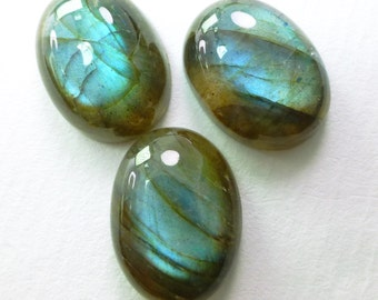 Natural Labradorite Cabochons. 12x16mm. Bright Blue Sheen. Super Glossy Polish. Oval. 3 pc. 26.45 cts. 12x16 mm. (LAB752)