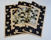 Elegant Quilted Table Runner, Quilted Table Topper, Asian Inspired, Black and Gold, Metallic Gold, Cats and Kitties