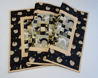 Elegant Quilted Table Runner, Quilted Table Topper, Black and Gold, Metallic Gold, Cats and Kitties