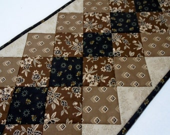 Reproduction Quilted Table Runner, Table Topper, Table Quilt, Civil War, Primitive, Black Brown Tan, Reproduction Fabrics