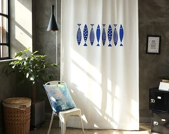 Blue Fishes  Black Out Wide Fabric Panel for Curtains (59 inches x 98 inches) 76439