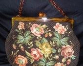 LARGE Needlepoint Floral Lucite Plastic Frame Vintage 1960's Women's Purse Handbag