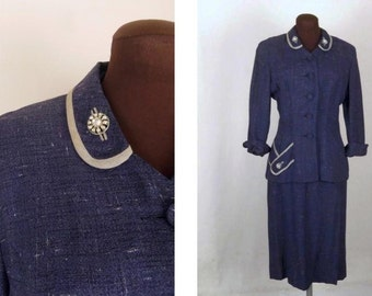 Vintage 40's Skirt Suit in Blue Rayon Tweed with Rhinestone Button Accents Size S / M