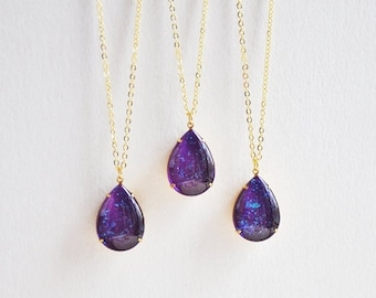 SALE Purple Drop Necklace, Purple Teardrop Necklace, Purple Galaxy Necklace, Purple Glitter Necklace, Purple and Gold Necklace, Purple Jewel