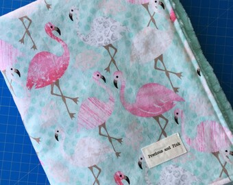 Flamingo Baby Blanket, Girl Minky Blanket, Flamingo Bedding, Pink and Mint Blanket, Flamingo Nursery