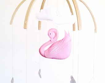 Swan Mobile in Pink (custom)