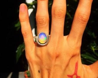 Welo Opal & Sterling Silver Ring